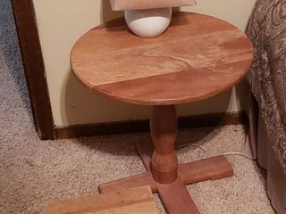 Wood Side Table  Stool and lamp