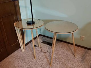 2  Tables with glass and extra legs and Table lamp