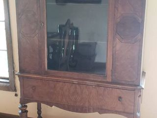 Antique Rockford Silver Cabinet   40 x 14 5 x 66 in    slight water damage to top