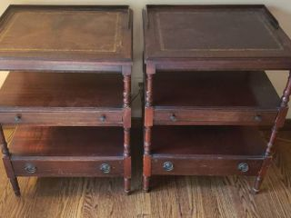 Pair of leather Top End Tables w 2 Drawers   21 x 18 x 28 in