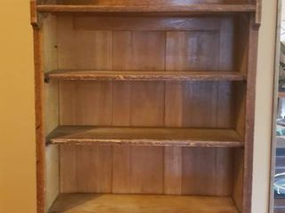Antique Wood Book Shelf   26 x 11 5 x 59 5 in  tall   missing one finial and slight wood damage