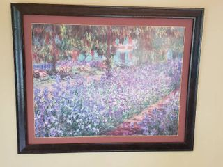 Framed Poster Print by Claude Monet   le Jardin de l artisle a Giverny   31 x 25 in