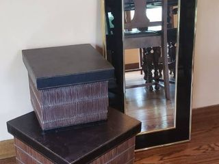 Wall Mirror  15 x 30 in    2 leather Top Storage Boxes  10 x 10 x 8 and 13 x 13 x 10