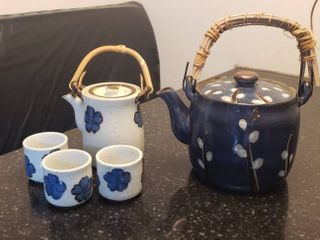 2 Stone Ware Tea Pots and 3 cups