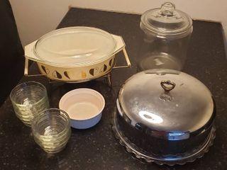 Kitchenware   Pyrex Casserole Dish on Chafing Stand  Clear Glass Candy Jar  9 Pyrex Custard Bowls  Corning Ware large Ramekin  and Metal   Glass Cake Dish