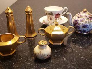 Tea Pot  Cup Saucer Set  S P shakers and Cream   Sugar Set