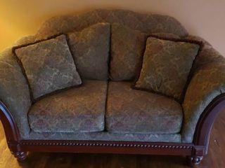 Brocade Upholstered loveseat   74 x 41 x 38 in  tall   Removable Cushions