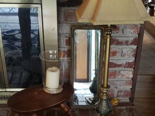 Tall Table lamp  32 in  tall   works  Framed mirror  Turned Wood Bowl  Wood Foot Stool  7 in  tall  Glass Candleholder and Swiss Farm Music Box