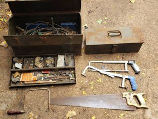 2 Metal Tool Boxes  contents included  2 Hack saws  Wood Saw  and Coping Saw