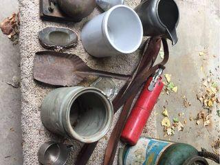 Vintage pump sprayer  Old School Bell  Crocks  Pewter Pitcher  Fire Extinguisher  Coal Shovel  Carpeted Bench