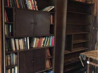 Dark Wood Double Sided Bookshelves Cabinets Room Dividers  Books not included  46in W x 20in D x 84in T