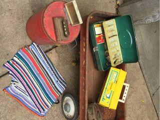 Vintage Rex Jet Red Wagon  Old Tin   Metal Tackle Box  Tambourine  Rag rug  Snoopy Kids Tackle Box