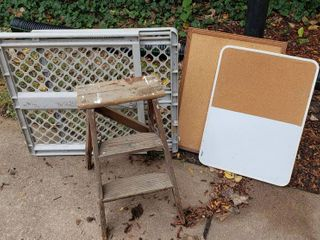 Expanding Plastic Gate  Small Step ladder  and 2 Bulletin Boards  18 x 24 in