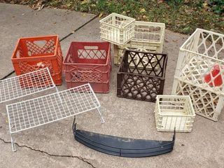 Plastic Crates   Various Sizes and Metal Shelving  22 to 24 in  wide