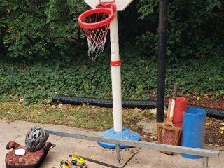 Kids Basketball Goal  Skateboard Adjustable Stunt Rail  Booster Seat  Helmet  Skates  Pucks  Bow  Rack  and Plastic Sleds