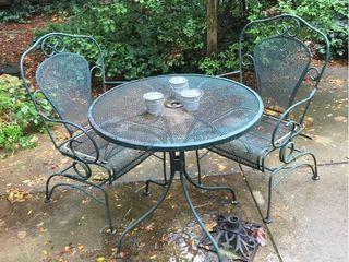 Metal Patio Table   2 Chairs  Iron Umbrella base  3 mini citronella bucket candles