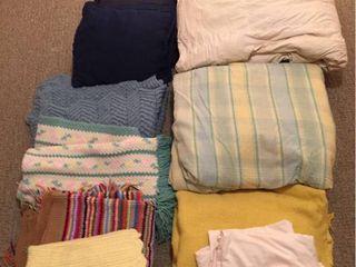 Queen Down Comforter  Blanket  Sheets  Plaid Queen Comforter  Throw pillows  4 Crocheted Afghans