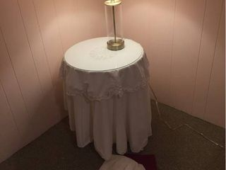 Small Decorator Table w glass top  extra cloth toppers  Glass Canister lamp
