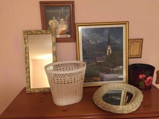 Wall Decor  Mirrors  Wicker Waste basket  painted planter