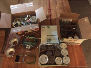 Canning Supplies   Jars  lids  funnels  rack  tongs