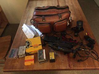 GE 8mm Camcorder w manual   bag  cords  battery  charger  tapes    accessories  Plus Kodak universal splicer   NIB Kodachrome 40 film