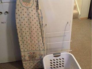 Ironing Board  over door racks  laundry basket  detergent  fabric finish spray