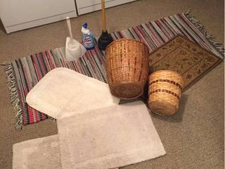 Runner Rugs  Bath Rugs  Plunger  Cleaner  2 waste baskets