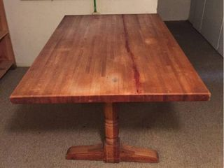Solid Wood Table on Pedestal legs   36in D x 60in l x 30in T
