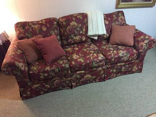 Broyhill 3 Section Floral Sofa w throw pillows   Afghan