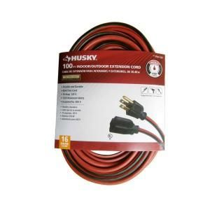 Extension Cords and Timers  Husky Extension Cords 100 ft  16 3 SJTW Extension Cord   Red and Black AW62669