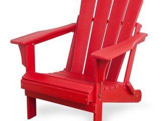 Braxton Folding Plastic Adirondack Chair  Red