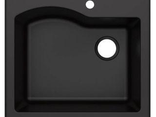 KRAUS Quarza 25  Dual Mount Single Bowl Granite Kitchen Sink in Black