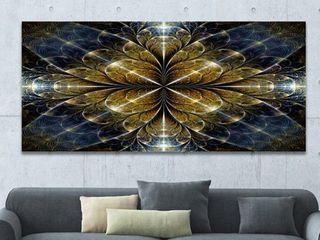 Designart  Digital Gold Fractal Flower Pattern  Abstract Wall Art Canvas Retail 178 49
