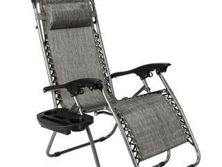 Zero Gravity Folding Patio lounge Beach Chair w Accessories