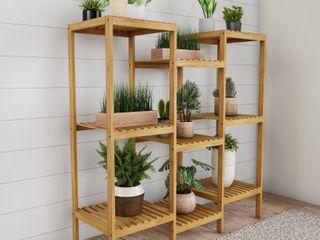 Vintas Multi level 9 Shelf Bamboo Plant Shelving