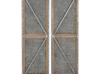 Rustic Iron   Wood Barn Style Door Panel   Set of 2