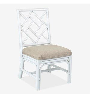Jeffan Rattan Chairs  White with Beige Cushions  Set of 2
