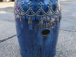 International Caravan Glazed Ceramic Tassel Drum Garden Stool