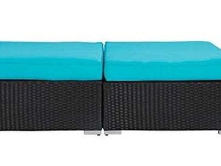 Kinsunny Outdoor Furniture Set All Weather Rattan Wicker Ottomans   Set of 2
