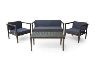 Newbury Outdoor 4 Seater Acacia Wood Chat Set  Gray Finish and Dark Grey Cushions