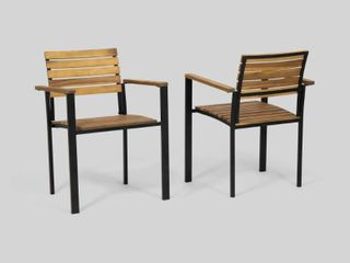 laris Outdoor Wood Dining Chairs  Set of 2  by Christopher Knight Home  Retail 194 49