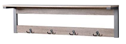 Reclaimed Wood Finish Wall Mount Coat Hanger   4 Hooks