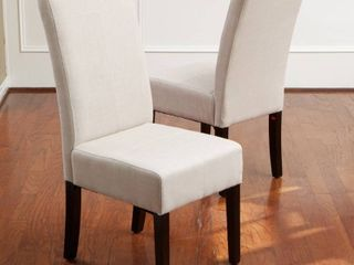 Noble House Home Furnishings Ivory Canvas Dining Chairs  Set of 2