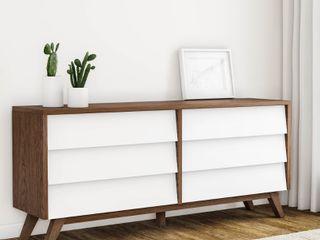 Mid Century White and Brown Dresser by Baxton Studio  Retail 281 82