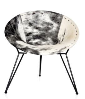 Relax Accent Chair Black   White Hide  Retail 377 49