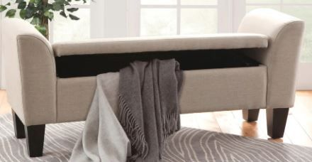 Armless Slipper Accent Foam Fabric Storage Bench