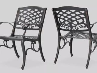 Sarasota Shiny Copper Outdoor Chairs  Set of 2
