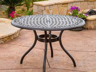 Outdoor Hallandale Round Cast Alluminum Patio Table