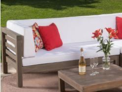 Oana Outdoor 11 Seater Acacia Wood Sectional Sofa and Club Chair Set by Christopher Knight Home  lEFT CHAIR ONlY