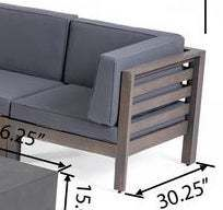 Oana Outdoor 12 Piece U shaped Acacia Wood Sectional